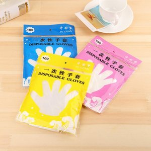 100pcs pack Plastic Disposable Glove Food Grade Waterproof Transparent Gloves Home Clean Gloves Colorful Packing Kitchen Tools DBC BH3297