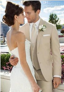 İki düğme satan Yeni En Bej Damat smokin Notch Yaka Groomsmen Erkekler Wedding Blazer Suits (ceket + pantolon + Vest + Tie) 4177 Suits