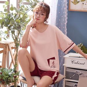 Kadınların Artı Boyut M-2XL Pijama Takımı Örme Cotton pijamalar bayanlar Sevimli Pijamas takım için yeni Geliş Yaz Kısa Sleeve pijama