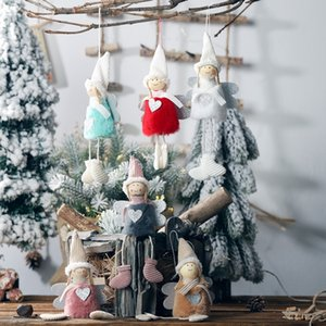 Рождество Ноэль Ангел Девочка Мальчик лыжи плюшевые куклы висит нога Ангел Рождественская елка украшение кулон украшения партии