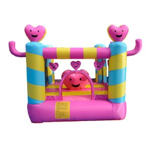 Gonflable rose Coeur Bouncer Petit Bouncy Castle Aimer Smile House Bounce for Girls Family Fun Play