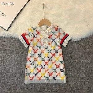 2020 niños muchachas del vestido de encaje bordado del bebé vestidos de partido de princesa de la moda de ropa para niños de verano de la muchacha