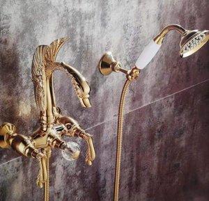Goldene Wand Swan Griffe Swan Badewanne Dusche Filler Wasserhahn mit Handbrause 2 Löcher Neu