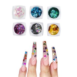 3D Holographic Butterfly Shape Acrylic Nail Glitter Flakes set Rhinestones Decorations DIY Powder Round Nail Art Decorations