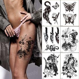 6pcs Waterproof Temporary Tattoo Sticker Japanese Geisha butterfly Flash Tattoos Leopard Wolf Tiger Body Art Arm Fake Tatoo Men