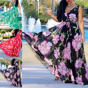 Estate delle donne Scollo a V senza maniche Boho floreale maxi vestito da partito Club Beach Sundress Cover Up Skirt