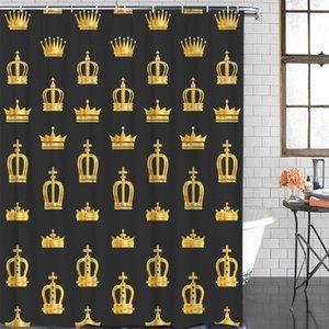 Tissu Rideau de douche Golden Crown Poliban imperméable Polyester Salle de bain rideau 12 crochets
