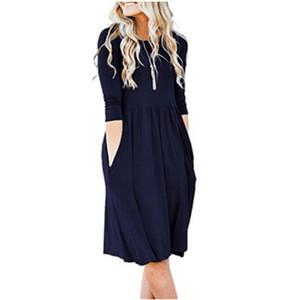 Solid casual a colori ad alta Abiti vita Summer Dress manica corta girocollo Linea pieghettata vestito delle donne