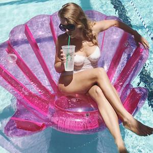 200 cm Ginormous Shell Giant Viola Capesante Galleggianti Gonfiabile Barca Pool Party Galleggiante Materasso Ad Aria Anello di Nuoto Divertente Giocattolo Adulto boia