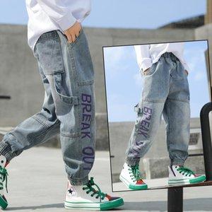 INS jeans garçons chaud 4-13 ans coton lavé jeans enfants pantalons coréens 4 lettres de poche filles pour bébé fille enfants