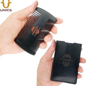 MOQ OEM personnalisé LOGO double côtés Fin Grossier Dent Noir Combs Barbe avec un peigne en bois Housse en cuir pour les hommes Cheveux Barbe