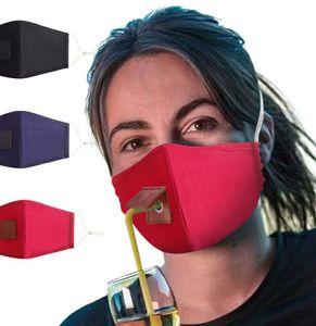 Взрослая Защита Cotton маски Питьевой маски с отверстием для соломенного моющегося пыле Пейте Открытые маски рта LJJK2363