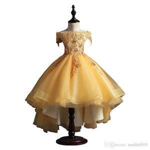 Nova Vestidos menina Beading Sash Bola Vestidos Lace apliques Flor Meninas Princesa elegante Casamento Pageant Dresse