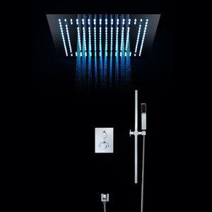 원격 제어는 LED 럭셔리 유럽 LED 조명 강우있는 샤워기을 샤워 설정 온도 조절 SUS304 욕실 천장 소나기
