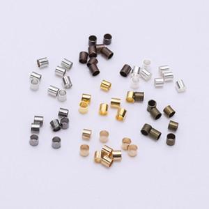 500pcs 1,5 2,0 2,5 milímetros Gold Silver tubo de cobre Crimp End Beads Stopper Spacer Beads Para fazer jóias Apreciação Supplies Colar