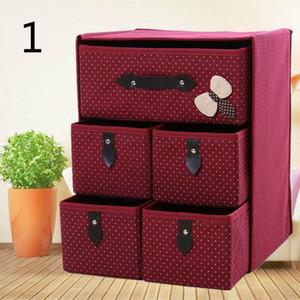 Non-woven Three Layer Five Drawer Underwear Classified Storage Box Sundries Container Organizer