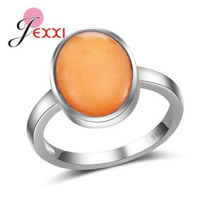 JEXXI semplice di alta qualità S90 argento dito anulare con fine arancione ovale opale signora Women gioielli e accessori