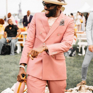Blush Pink Double Breasted Groom Tuxedos Peaked Lapel Mens Suits Wedding Prom Dinner Blazer(Jacket+Pants)