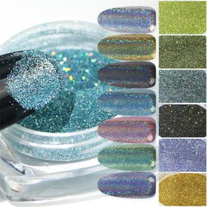 12 Colors Holographic Powder Laser Silver Glitter Chrome Nail Powder DIP Shimmer Gel Gradient Polish Flakes for Manicure Pigment