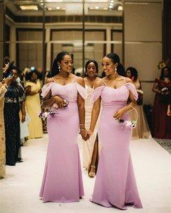2019 Seksi Siyah Kız Mermaid Gelinlik Modelleri Ucuz Afrika Kapalı Omuz Düğün Konuk Elbisesi Uzun Spagetti Balo Abiye