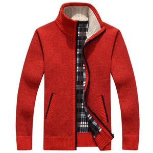 Men's Sweaters Men Sweater Coat 2021 Autumn Winter Faux Fur Wool Jackets Zipper Knitted Thick Warm Casual Knitwear Cardigan