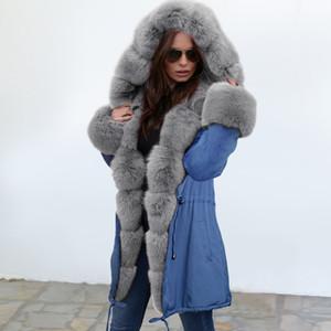 Мода женщин дизайнер пальто куртка с мехом роскошные зимние пальто держать теплые куртки длинный стиль открытый одежда пальто Женская одежда размер S-2XL