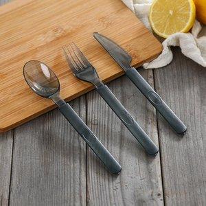 3шт / набор Прозрачный Одноразовая посуда Набор Western - стиль Посуда одноразовая Прозрачный пластиковый нож вилка ложка Набор RRA2750
