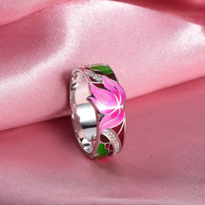 Rainmarch Bohemian Enamel Lotus Flower Silver Ring For Women 925 Sterling Silver Ring Engagement Party Handmade Jewelry Y19062004