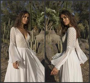 2019 Новый Asaf Dadush A Line Свадебные платья с V-образным вырезом и кружевами Свадебные свадебные платья Backless Robe de mariée Страна Boho свадебное платье