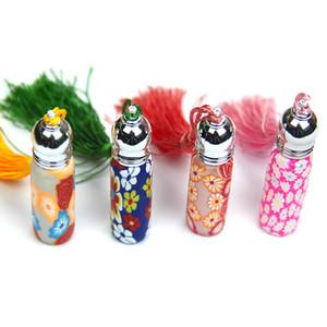 6ML arcilla botella de perfume de la borla y la gota de aceite botellas vacías de la botella Roller colgante del coche de aromaterapia botella portátil de contenedores GGA2780