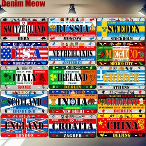 USA England Russia Netherlands License Plate Car Motorcycle Metal Sign Bar Cafe Home Decor France Spain Poland Wall Poster N334