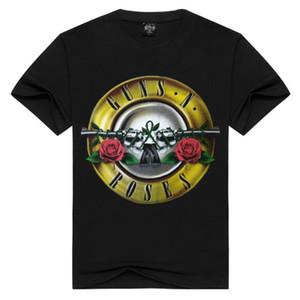 2019 Kaya Tabanca ve Gül Mens Tasarımcısı Guns güller bant tee metal punk rap tarzı erkek tshirt Tops T-Shirt Baskı