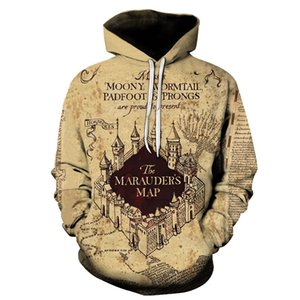 Men Casual Funny Hoodie 2019 For Adult Hogwarts the Marauders Map Design Men's Sweatshirts 3D Desert Castle Streetwear Hoodies