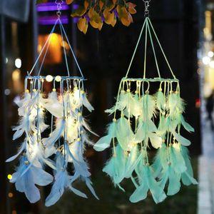Festive Glow Party Supplies Handmade Dream Catcher Net Feder Dekoration Dekor Ornament Blau Craft 2019 NEU