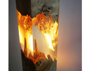 piso de tabla llevada luz de la lámpara de resina epoxi transparente iluminación no transparente de vidrio de madera decoración de arte hecha para casa casero regalo de Navidad