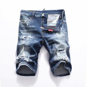 Yeni 2019 Erkekler Denim Yırtılma şort Kot Gece kulübü mavi Pamuk moda Sıkı yaz erkek pantolon A8066 PHILIPP PLEIN DSQUARED2 DSQ2 D2