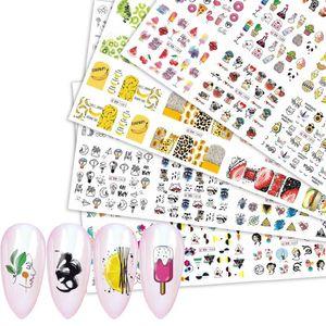 12 Entwürfe / lot Coloful Abstraktes Bild Nail Sticker Sommer-Frucht-Eis Tier Linie Mädchen Abziehbilder Übertragung Slider Dekorationen