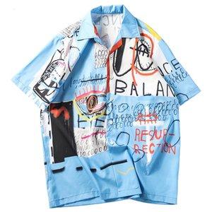 Mens Hip Hop Shirts Streethawaiihemd Graffiti-Druck-Strand Tops Sommer-dünne Tops Short Sleeve Männlich Kleidung