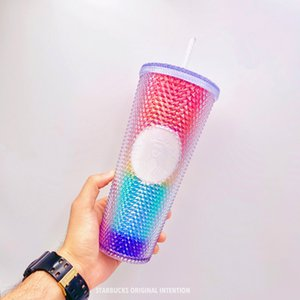 New Starbucks dazzle goddess Rainbow straw coffee cup 710ML Laser Durian Plastic cold water cup for out door sport Accompanying cup