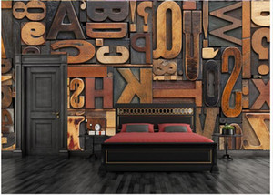 Cifra Lettera Carta da parati 3D gigante pittura murale bar KTV caffè Corridoio ristorante arredamento personalità Wallpaper