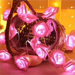 10led 20led 40led bateria operado LED rosa flor corda luzes de natal luz de fadas decoração de festa de casamento dos namorados
