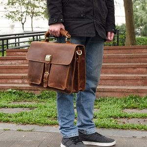 Vintage Genuine Leather men briefcase fit 14 inch laptop Business handbag Cow leather double Layer messenger bag PC work tote
