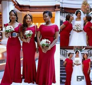 Vestidos de dama de honor de color rojo oscuro Vestido de damas de honor de manga corta primicia Vestidos de novia de satén Vestidos de noche