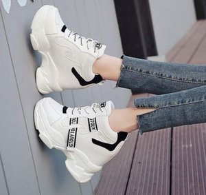 Women's thick-soled platform shoes 2020 new spring and summer mesh sports shoes ins versatile increase white shoes