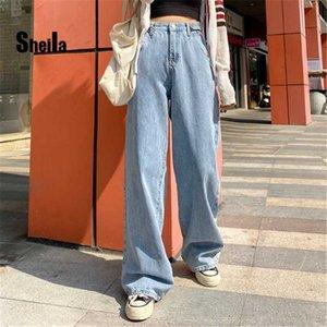 Sheila mujer vaqueros de cintura alta pierna ancha ropa con ropa vaquera azul Streetwear calidad de la vendimia 2020 de moda de Harajuku recta Pan