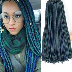 """locs faux crochet dreadlocs extensión sintética del pelo jumbo trenza de pelo de ganchillo locs diosa trenzado verde pelo 18"""" 24roots / pack"""