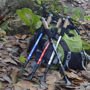Kodenor Outdoor Fold Walking Stick Lock Interno Ultra Ligero Resistente a los golpes Senderismo Postes Mango Recto Telescopic Ski Stick Venta Caliente 16hcI1