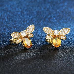 Мода Bee Цирконий серег Малый 925 стерлингового серебра женщин Earings Блестящий кристалл партии подарка ювелирных изделий