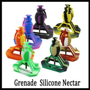 Nuevos kits de colector de néctar de silicona para pipa de agua de granada de diseño con junta de 14 mm con GR2 titanio clavos tapones de silicona plataformas de aceite