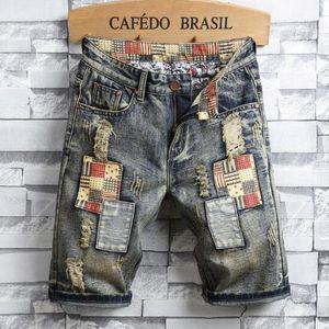 2019 novas do verão Moda Jeans Mens Personalidade remendo retro Denim Shorts Designer calças dos homens Buraco Shorts Mens Shorts